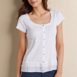 Soft Surroundings White Ribbed Roma Top